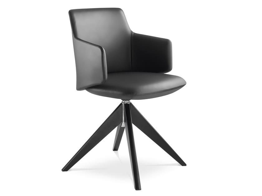 Sedia ufficio girevole imbottita in pelle con braccioli MELODY MEETING 360-FW by LD Seating