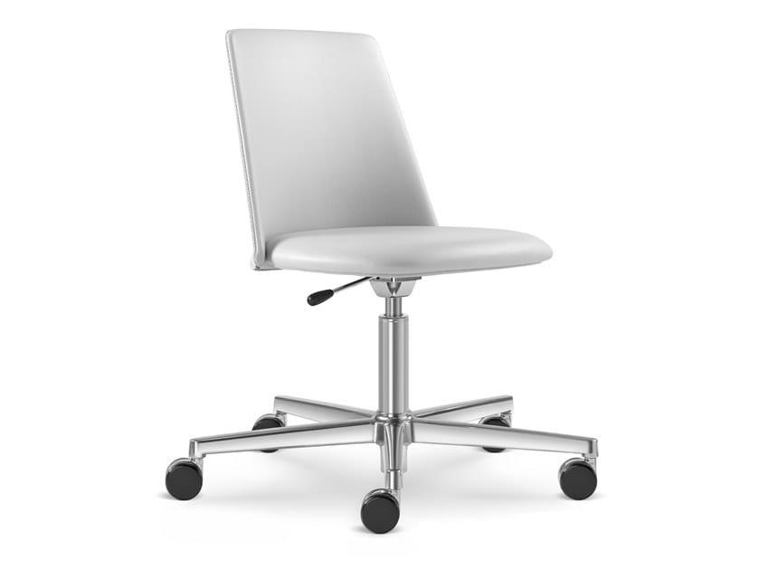 Sedia ufficio girevole in pelle a 5 razze MELODY CHAIR 361-F37 by LD Seating