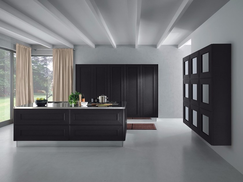 Wood veneer kitchen with island without handles MELOGRANO M.DUE by Composit