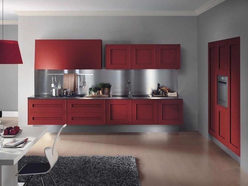 Linear wall-mounted wood veneer kitchen without handles MELOGRANO M.SEI by Composit