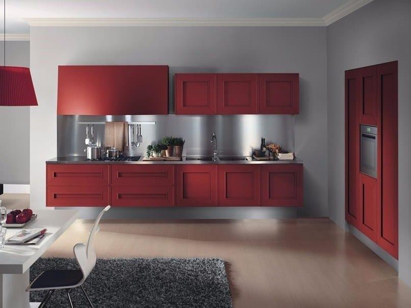 Zeilen- schwebende Küche aus Holzfurnier ohne Griffe MELOGRANO M.SEI ...