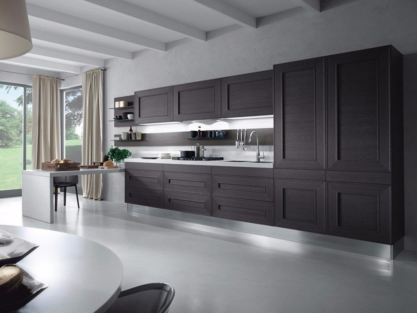 Wood veneer kitchen with peninsula without handles MELOGRANO M.UNO by Composit