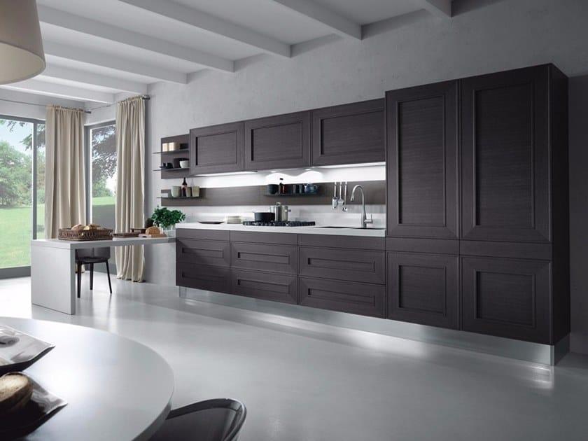 Küche aus Holzfurnier mit Halbinsel ohne Griffe MELOGRANO M ...