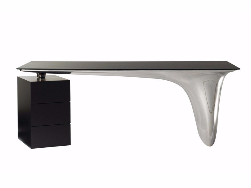 Bureau en verre trempé avec tiroirs melt by roche bobois design