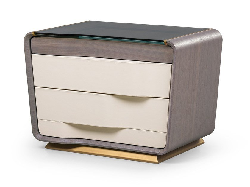 Rectangular bedside table with drawers MELTING LIGHT | Bedside table by Turri