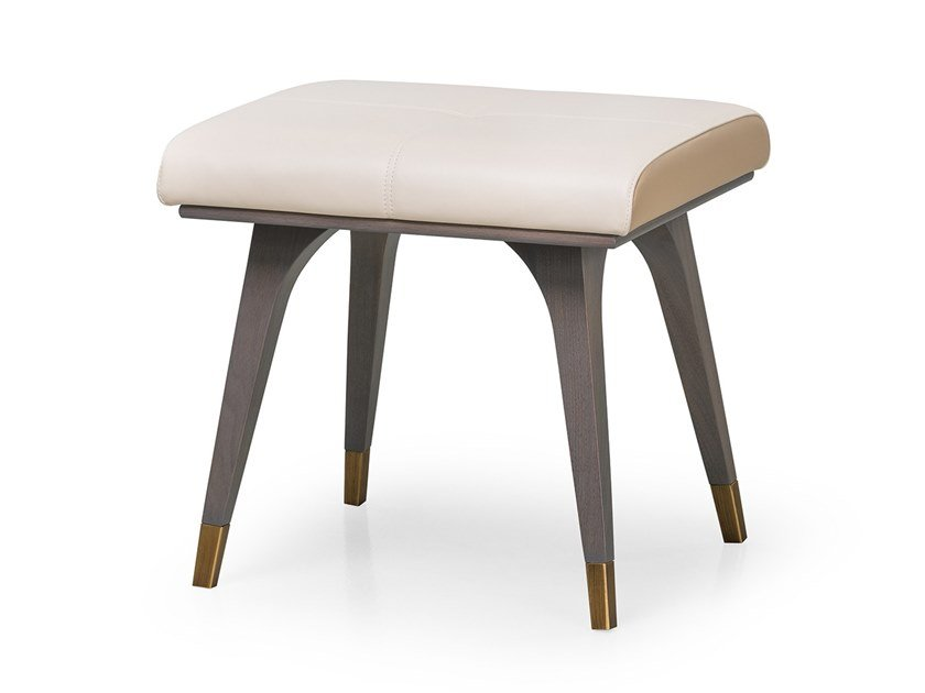 Low upholstered leather stool MELTING LIGHT | Low stool by Turri