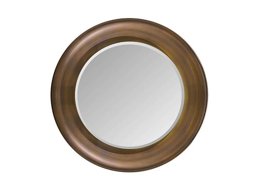 Round framed wooden mirror MELTING LIGHT | Mirror by Turri