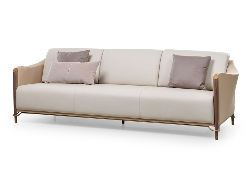 4 seater leather sofa MELTING LIGHT | Sofa by Turri