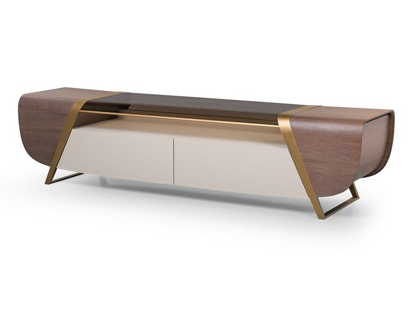 Wood and glass TV cabinet with drawers MELTING LIGHT | TV cabinet by Turri