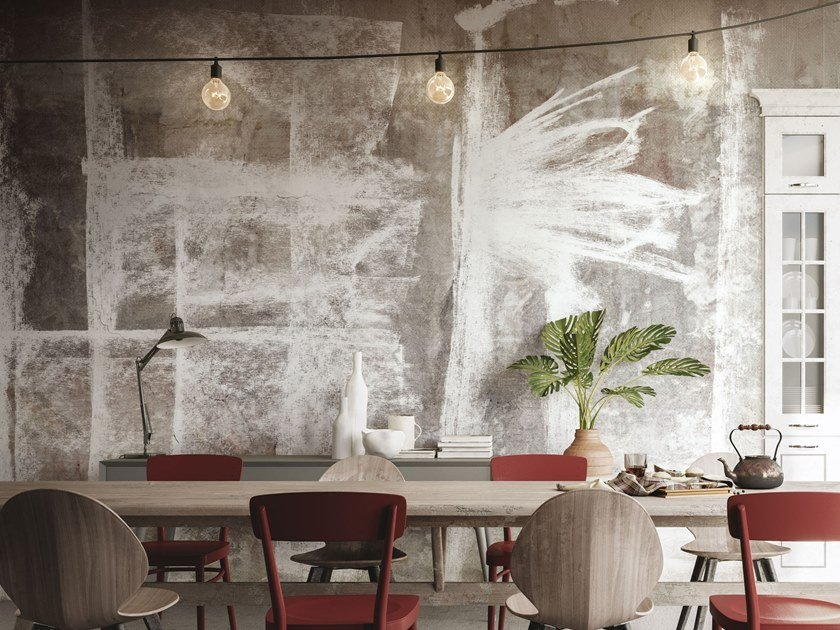 Contemporary style panoramic fabric wallpaper strip MEMORIE by Tecnografica