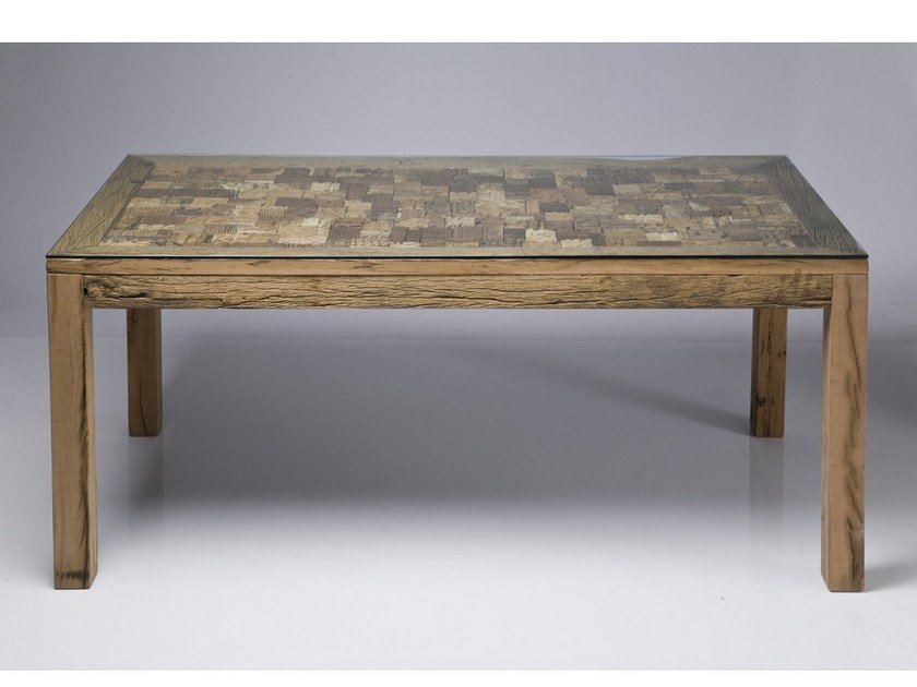 Rectangular wood and glass table MEMORY by KARE-DESIGN