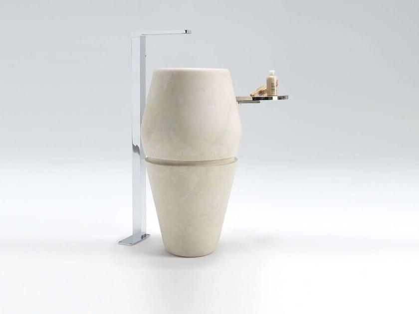 Freestanding round natural stone washbasin MEN{H}IR   Freestanding washbasin by L'antic Colonial