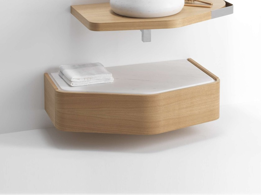 Wall-mounted wooden vanity unit with drawers MEN{H}IR S | Vanity unit by L'antic Colonial