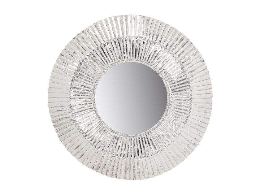 Round framed wall-mounted aluminium mirror MERCURY | Round mirror by KARE-DESIGN