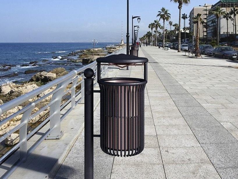 Galvanized steel litter bin with lid MERLINO | Litter bin with lid by Bellitalia