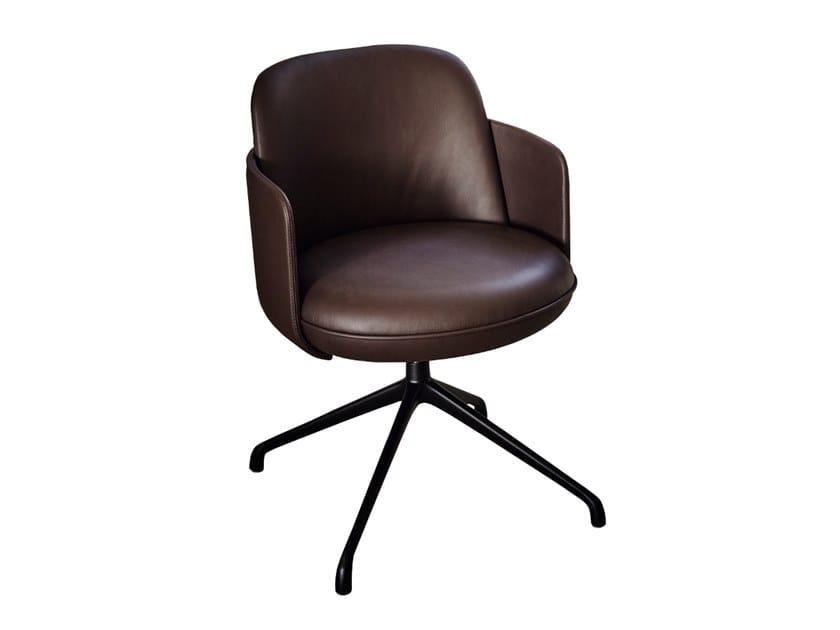Swivel trestle-based leather chair MERWYN | Swivel chair by Wittmann
