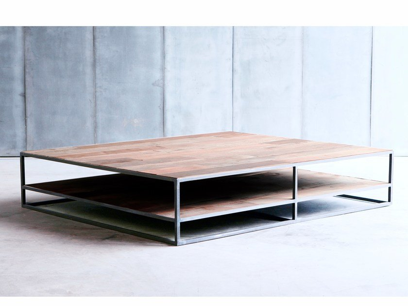 Custom coffee table with integrated magazine rack MESA DD MTM by Heerenhuis