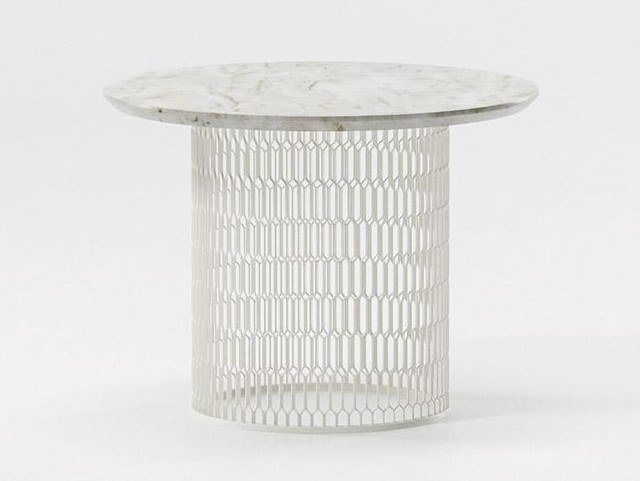 Marble side table MESH | Marble coffee table by KETTAL
