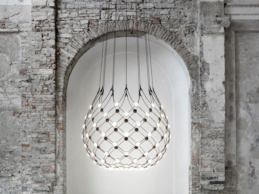 LED polycarbonate and steel pendant lamp MESH | Pendant lamp by LUCEPLAN