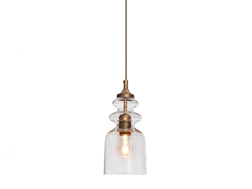 Transparent blown glass pendant lamp MESSALINA CLEAR EDITION by Contardi