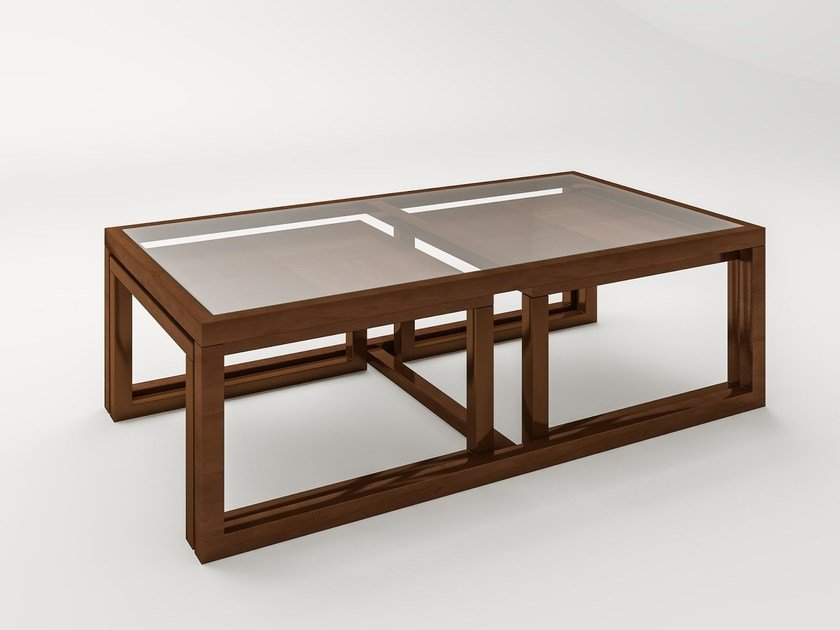 Wood and glass coffee table MESSINE by HUGUES CHEVALIER