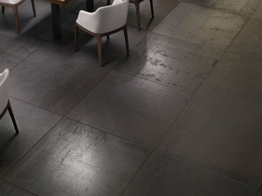 Laminated stoneware wall/floor tiles with metal effect METAL - IRON by COTTO D'ESTE