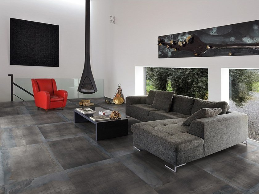 Porcelain stoneware wall/floor tiles with metal effect METAL STYLE CALAMINE by Ergon by Emilgroup