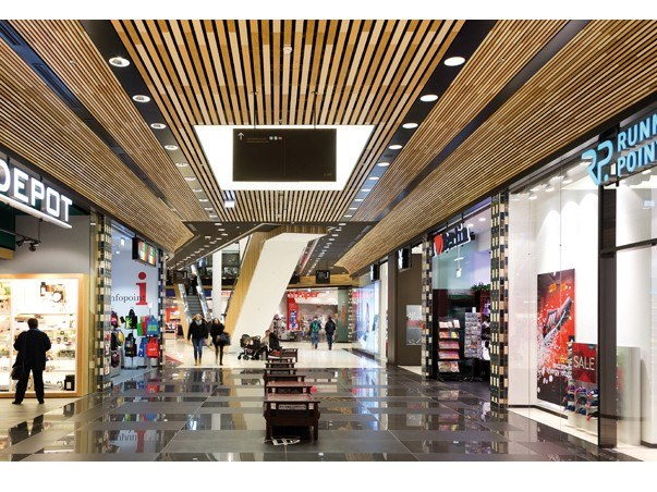 Acoustic metal ceiling tiles with wood effect METAL WOODPRINT by HunterDouglas Architectural