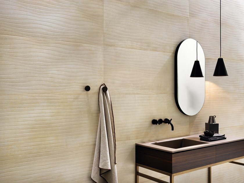 White-paste wall tiles with metal effect METALINE WALL PLATE by Impronta Ceramiche