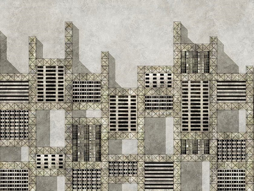 Industrial and modern wallpaper, PVC free, eco, washable METALLIC CITY by Wallpepper