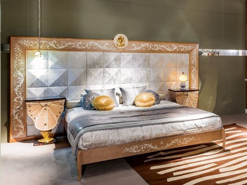 Wooden king size bed with upholstered headboard METAMORFOSI   Bed with upholstered headboard by Carpanelli Classic