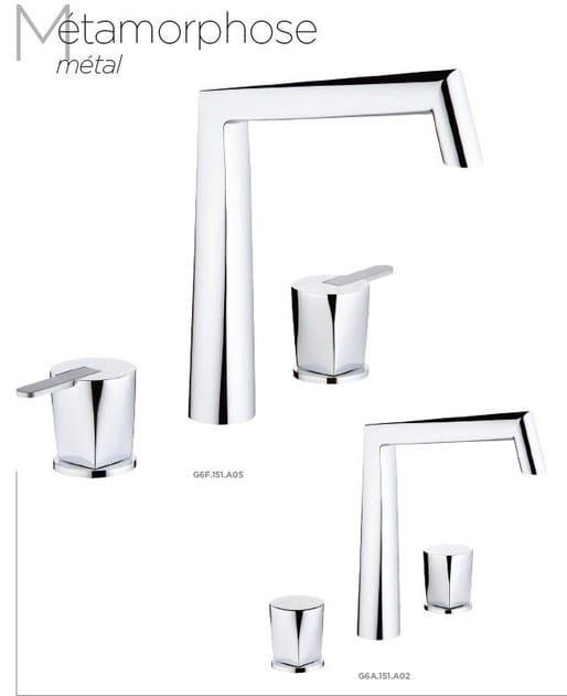 Contemporary style 3 hole metal washbasin mixer with aerator with polished finishing METAMORPHOSE | 3 hole washbasin mixer by INTERCONTACT