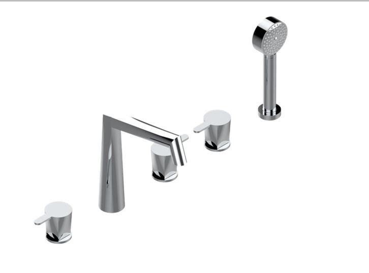 Chrome-plated metal bathtub mixer with hand shower with polished finishing METAMORPHOSE A MANETTES | Bathtub mixer by INTERCONTACT