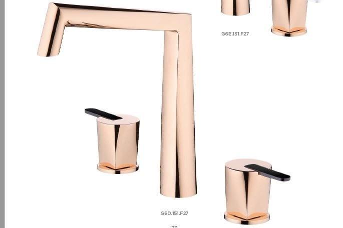 Miscelatore per lavabo a 3 fori in metallo in stile moderno con finitura lucida con rosette separate METAMORPHOSE CERAMIQUE NOIRE   Miscelatore per lavabo by INTERCONTACT