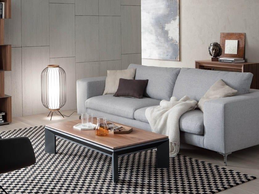 Height-adjustable aluminium and wood coffee table METRINO by Ozzio Italia