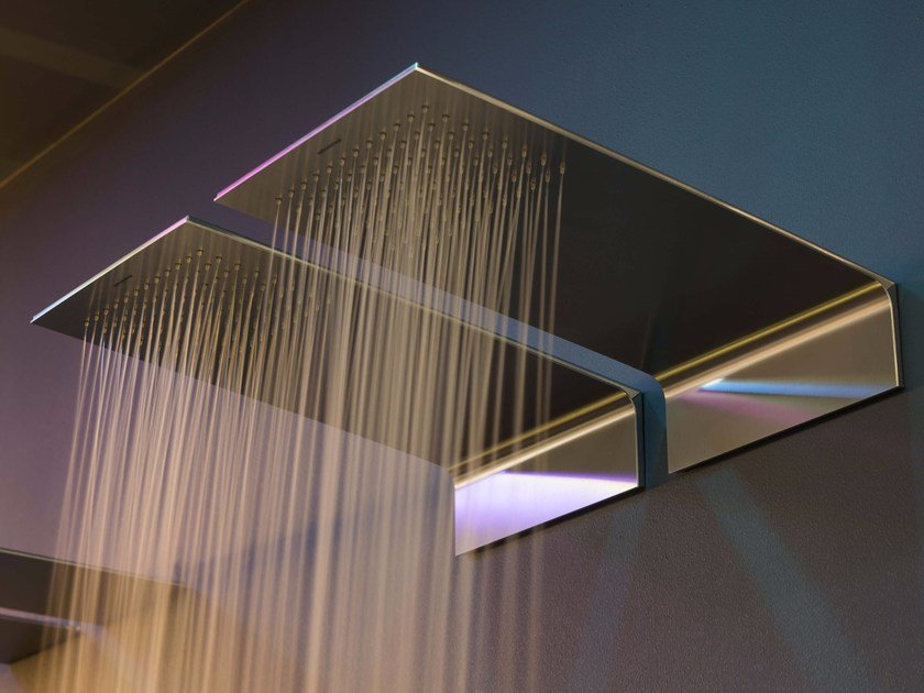 Wall-mounted stainless steel overhead shower MEZZAVELA by Antonio Lupi Design