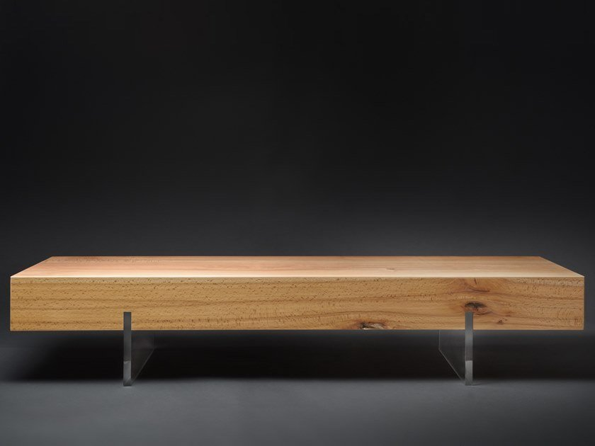 Low rectangular beech coffee table MEZZO#02 by Nature Systems