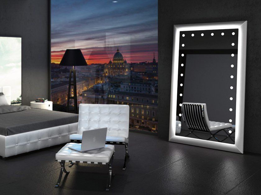Countertop rectangular leather mirror with integrated lighting MF PELLE by UNICA by Cantoni