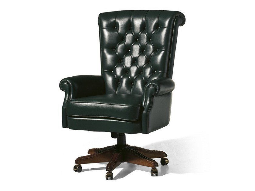 Tufted swivel leather armchair with casters MG 1219 by OAK