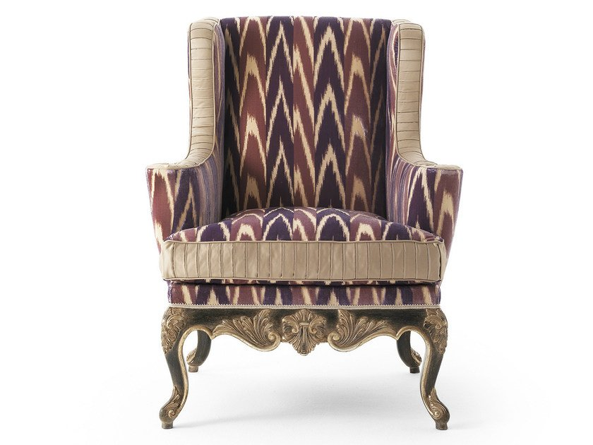 Upholstered fabric armchair with armrests MG 3421/1 by OAK