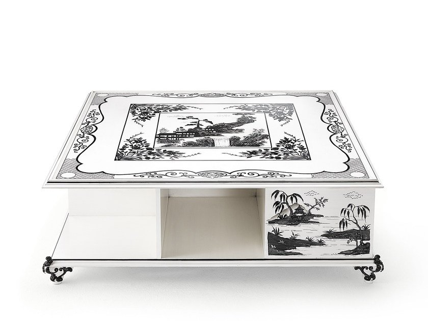 Lacquered square wooden coffee table MG 4547 by OAK