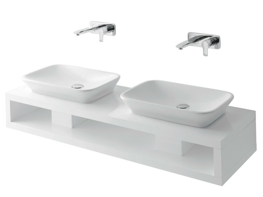 Double wooden washbasin countertop MH | Double washbasin countertop by TOTO