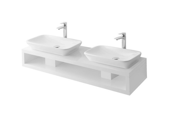 Double wooden washbasin countertop MH   Double washbasin countertop by TOTO
