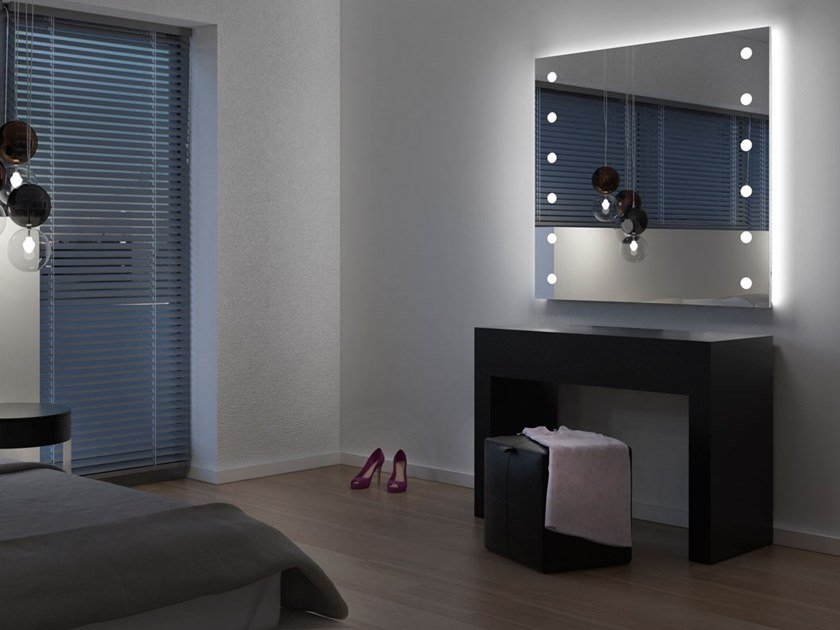 Contemporary style wall-mounted framed aluminium mirror with integrated lighting MH04 by UNICA by Cantoni