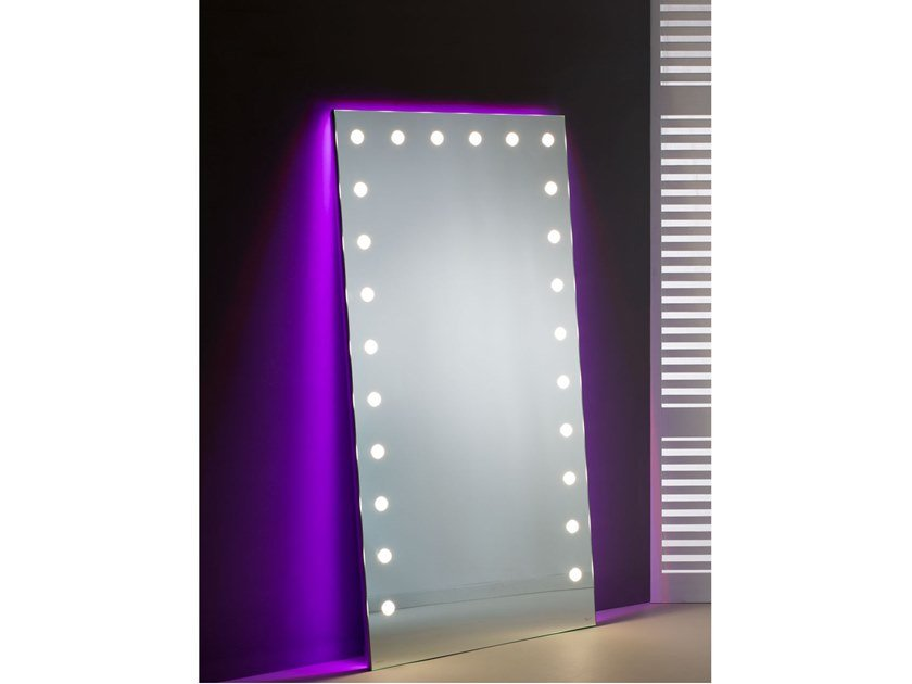 Countertop rectangular Anodized aluminium mirror with integrated lighting MH05   Countertop mirror by UNICA by Cantoni