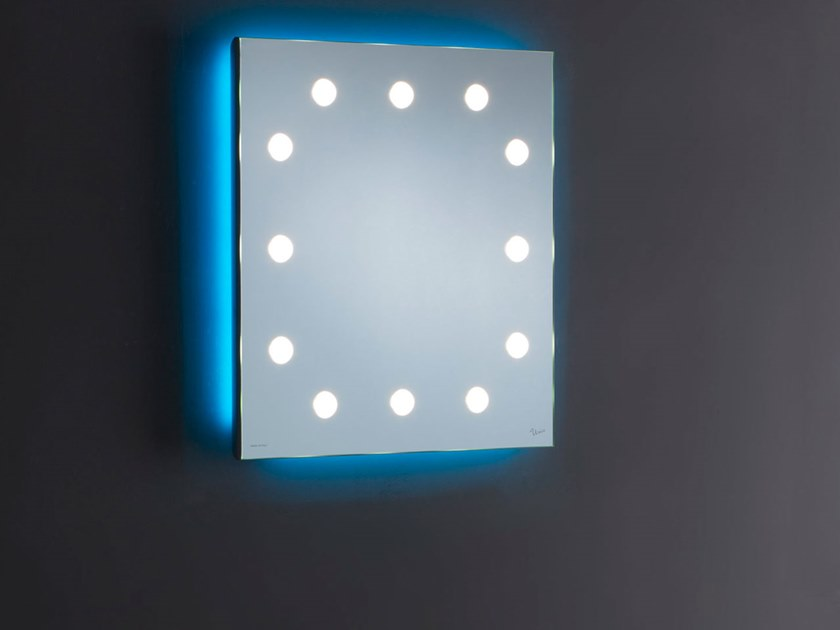 Square wall-mounted Anodized aluminium mirror with integrated lighting MH06 by UNICA by Cantoni