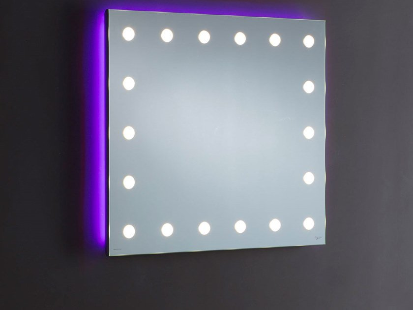 Rectangular wall-mounted Anodized aluminium mirror with integrated lighting MH08.O by UNICA by Cantoni