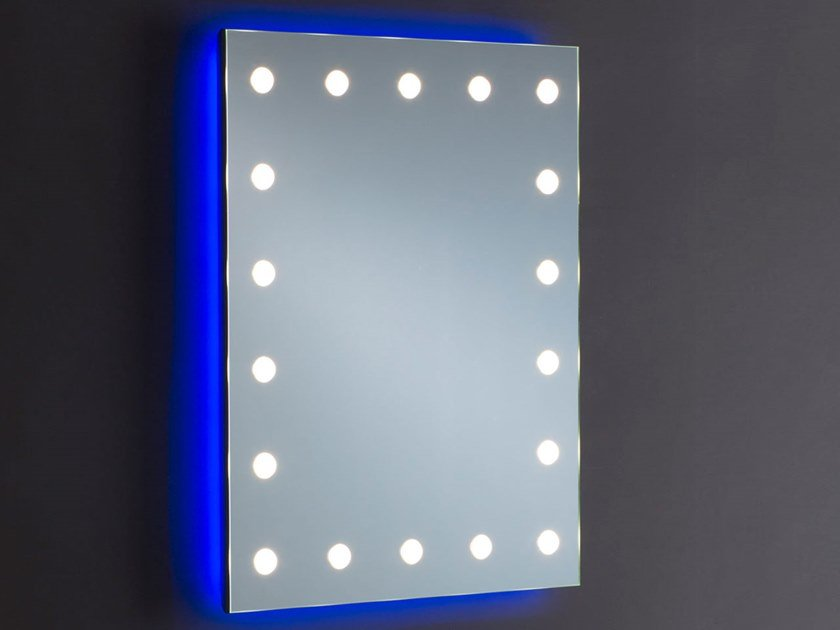 Rectangular wall-mounted Anodized aluminium mirror with integrated lighting MH08.V by UNICA by Cantoni