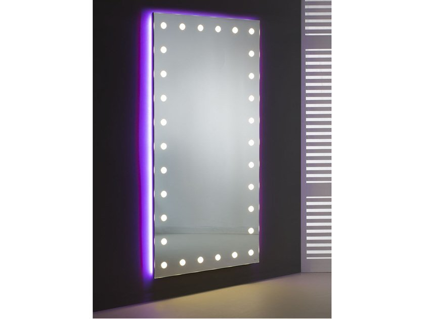 Rectangular wall-mounted Anodized aluminium mirror with integrated lighting MH09.V | Wall-mounted mirror by UNICA by Cantoni