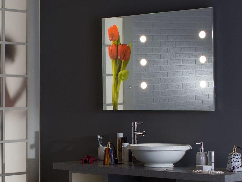 Rectangular wall-mounted Anodized aluminium mirror with integrated lighting MH10 by UNICA by Cantoni